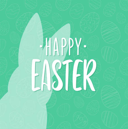 Vector illustration: Hand drawn lettering of Happy Easter with bunnys silhouette.