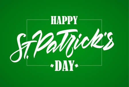 Vector illustration: Hand drawn brush lettering composition of St. Patrick's Day on green background.