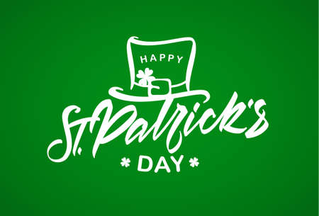 Vector illustration: Hand drawn brush lettering composition of St. Patrick's Day with leprechaun hat on green background. Иллюстрация