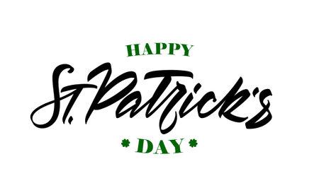 Vector illustration: Handwritten modern brush lettering of Happy St. Patrick's Day.