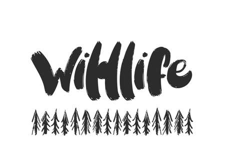 Vector Handwritten furry brush lettering of Wildlife with hand drawn pine forest.