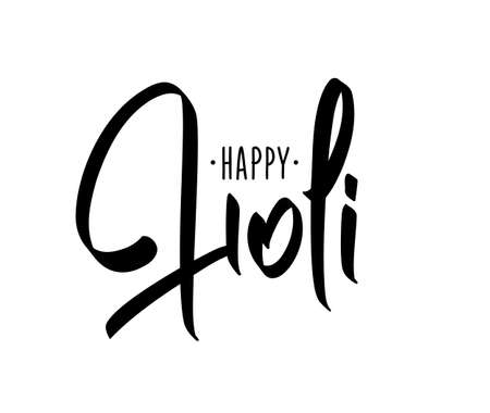 Vector illustration: Hand brush lettering composition of Happy Holi on white background