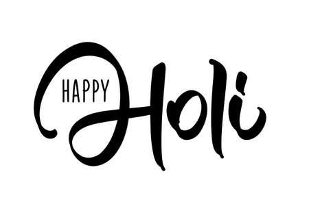 Vector illustration: Hand drawn brush lettering composition of Happy Holi on white background Illusztráció