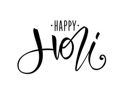 Vector illustration: Hand drawn lettering composition of Happy Holi on white background Illusztráció