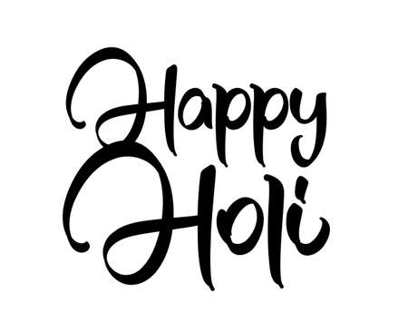 Vector illustration: Handwritten brush lettering composition of Happy Holi on white background
