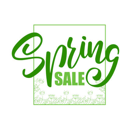 Vector illustration: Handwritten lettering composition of Spring Sale with hand drawn floral elements.