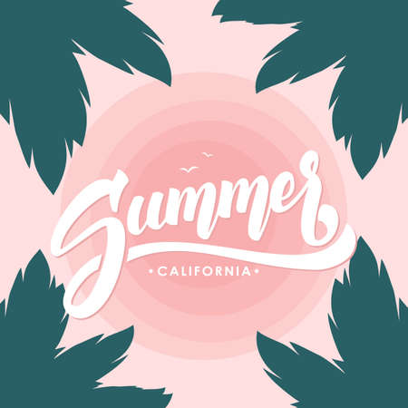 Vector illustration: Brush lettering composition of Summer California on tropical Sunset sky background and palm leaves. Illusztráció