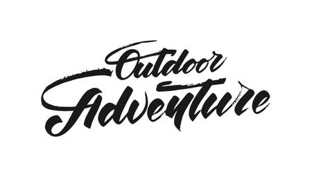 Vector illustration: Hand drawn Modern brush lettering composition of Outdoor adventure. 向量圖像