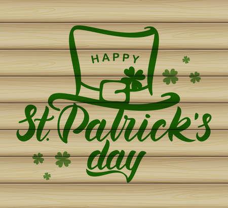 Vector illustration: Hand drawn brush lettering of Happy St. Patrick's Day with leprechaun hat on wood background. Typography design. Illusztráció