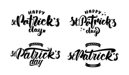 Vector illustration: Set of four Handwritten elegant modern brush lettering of Happy St. Patrick's Day on white background.