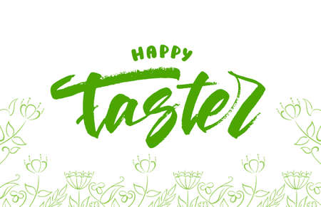Handwritten green grunge modern brush lettering of Happy Easter with Hand drawn flowers sketch. 向量圖像
