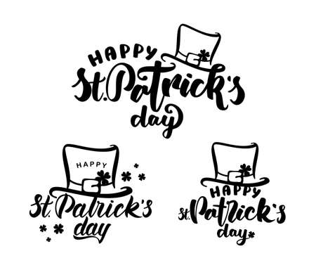 Vector illustration: Set of Handwritten brush lettering of Happy St. Patrick's Day with leprechaun hat on white background.