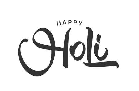 Vector illustration: Hand drawn lettering composition of Happy Holi on white background Illustration