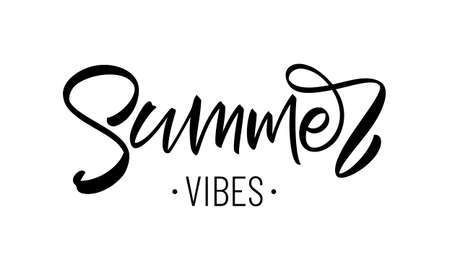 Vector illustration: Handwritten type lettering composition of Summer Vibes Illustration