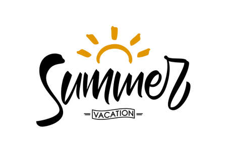 Vector illustration: Brush lettering composition of Summer Vacation with doodle sun on white background.