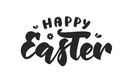 Vector illustration. Hand drawn black brush lettering composition of Happy Easter on white background.