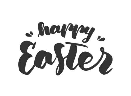 Hand drawn lettering of Happy Easter on white background. Vector typography design.