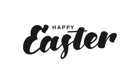 Vector hand lettering of Happy Easter isolated on white background Illustration