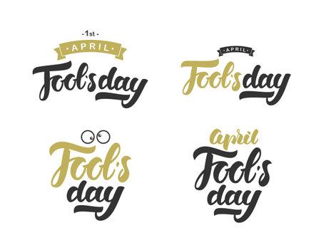 Vector illustration: Set of hand drawn golden and black inscription of April Fools Day.