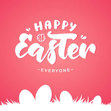 Vector illustration: Greeting card with handwritten lettering of Happy Easter and silhouette of eggs on grass on pink background.