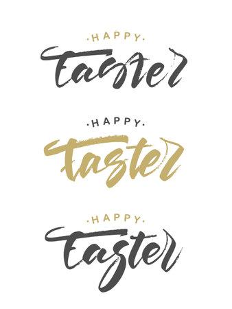 Vector illustration: Set of hand drawn grunge golden inscription of Happy Easter Illustration