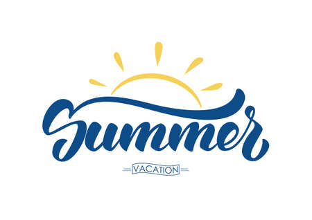 Vector illustration: Brush lettering composition of Summer Vacation with sun isolated on white background.