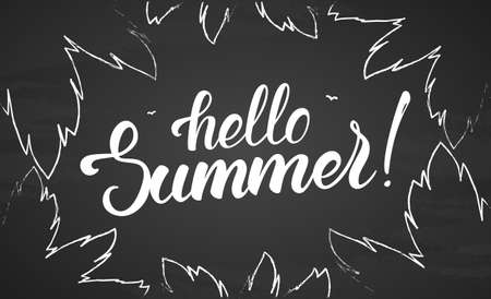 Vector illustration: Brush lettering of Hello Summer with birds and palm leaves on blackboard background