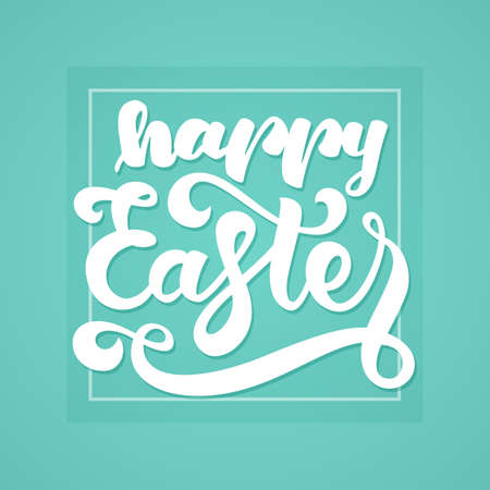 Vector illustration: Greeting card with handwritten lettering of Happy Easter in frame on mint background. Illustration