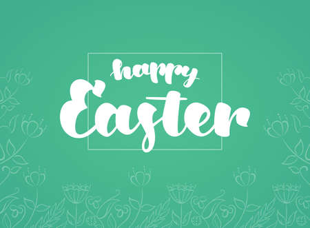Vector illustration: Greeting card with handwritten lettering of Happy Easter and hand drawn flowers on mint background.