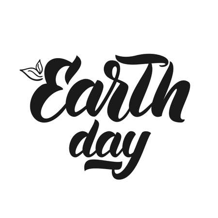 Vector Handwritten lettering of Earth Day on white background.