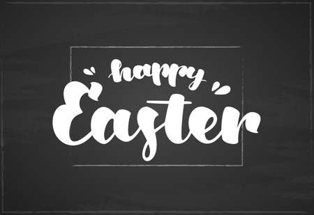 Vector Hand drawn lettering of Happy Easter on in frame on chalkboard background.