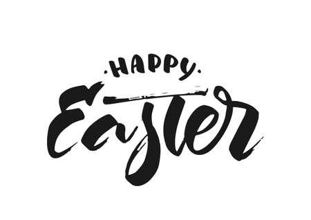 Vector illustration. Hand drawn modern brush ink lettering of Happy Easter.