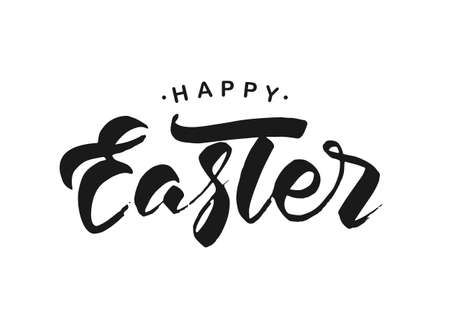 Vector illustration. Hand drawn modern brush ink lettering of Happy Easter isolated on white background.