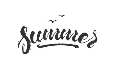 Vector illustration. Vintage hand lettering print of Summer on white background. Textured T shirt design. Illustration