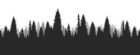 Seamless hand drawn pine forest. Christmas banner template.