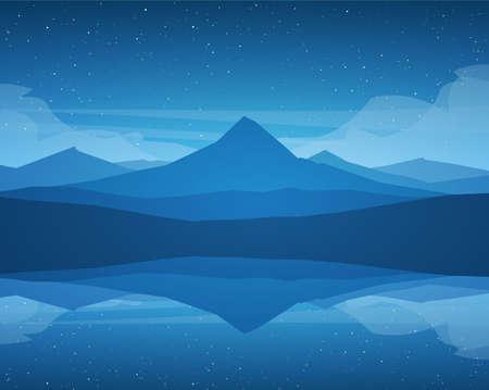 Vector Night Mountains Lake landscape, stars and reflection. Ilustracje wektorowe