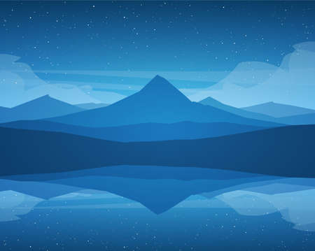 Vector Night Mountains Lake landscape, stars and reflection. Vetores