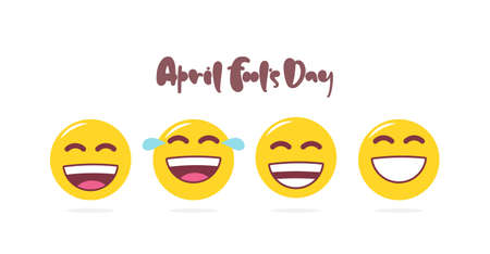 Vector set of laugh emoji. Hand lettering of April Fools Day.