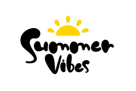 Vector illustration: Hand drawn type lettering composition of Summer Vibes with sun 일러스트