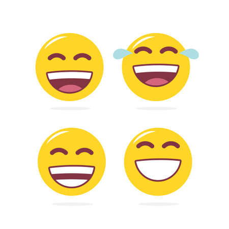 Vector illustration: set of laugh emoji