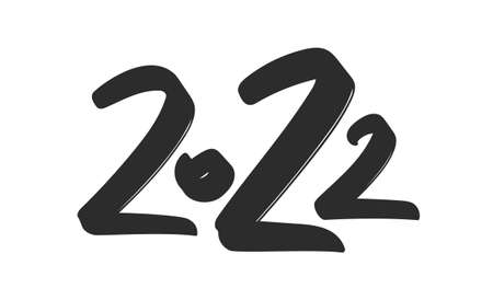 Vector illustration: Hand drawn brush ink lettering of 2022.