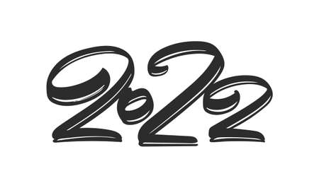 Vector illustration: Hand drawn brush ink lettering of number 2022. Chines calligraphy 일러스트