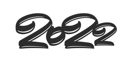 Vector illustration: Hand drawn brush ink lettering of 2022. Chines calligraphy 일러스트