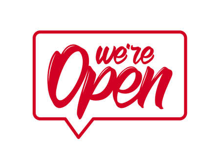Vector illustration: Door sign with Handwritten lettering of We're Open