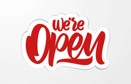 Vector Handwritten calligraphic lettering of We're Open