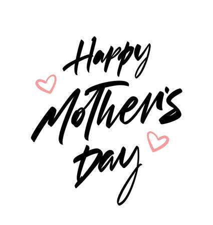 Vector illustration: Handwritten brush lettering of Happy Mother's Day with pink hearts on white background.