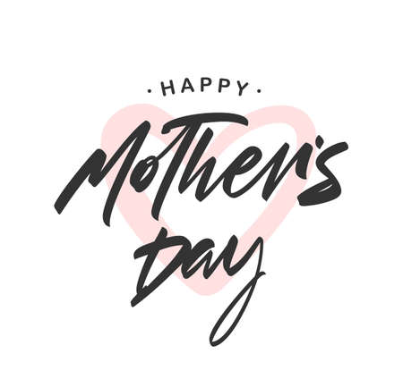 Vector illustration: Handwritten brush lettering of Happy Mother's Day on pink heart background.
