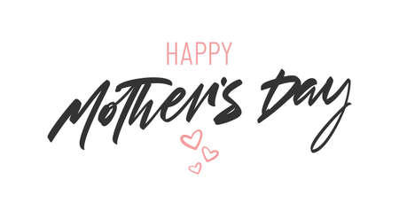 Vector illustration: Handwritten lettering of Happy Mother's Day with pink hearts on white background.
