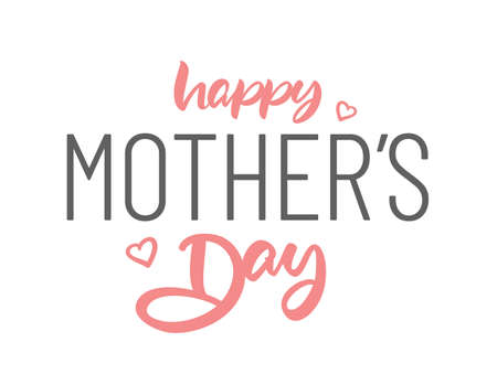 Vector Lettering composition of Happy Mother's Day with pink hearts on white background.