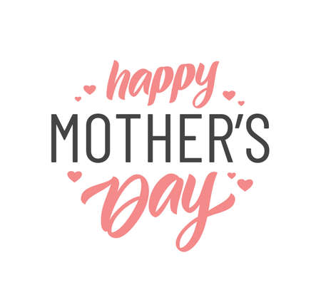 Vector illustration: Calligraphic Lettering composition of Happy Mother's Day with pink hearts on white background.